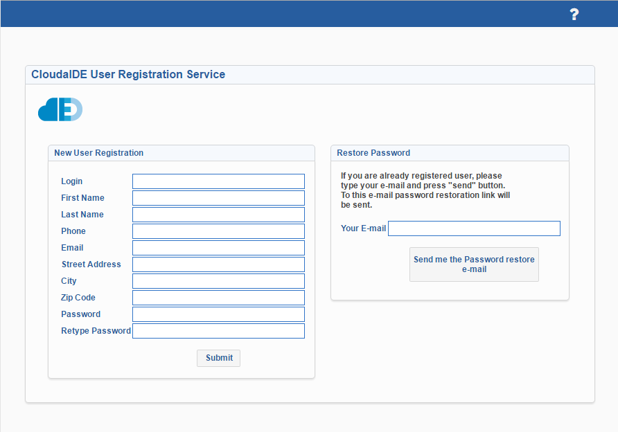 CloudIDE User Registration Service