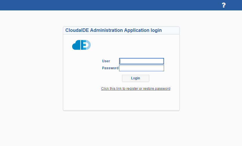 CloudIDE Administration Application login page