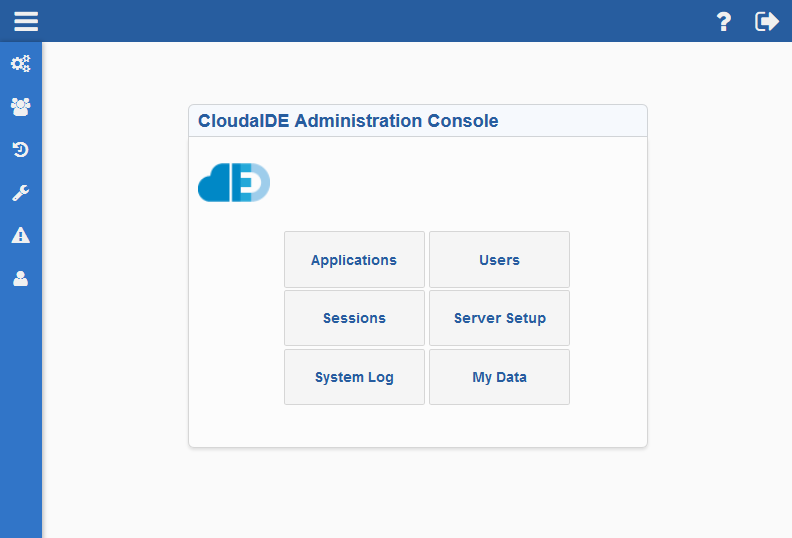 CloudIDE Administration Application main console