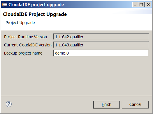 Project upgrade wizard